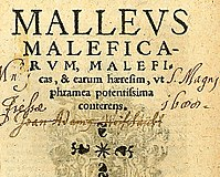 """""""The Hammer of Witches which destroyeth Witches and their heresy as with a two-edged sword"""". Title page of the seventh Cologne edition of the Malleus Maleficarum, 1520, from the University of Sydney Library."""