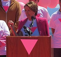 Congresswoman Nancy Pelosi at the Friends of the Pink Triangle Ceremony