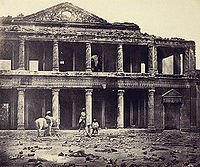 The interior of the Secundra Bagh, several months after its storming during the second relief of Lucknow. Albumen silver print by Felice Beato, 1858