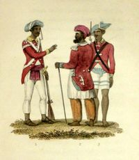Two sepoy officers; a private sepoy, 1820s