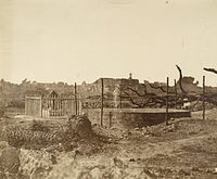 Bibigarh house where British women and children were killed and the well where their bodies were found, 1858.