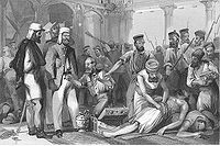 British soldiers looting Qaisar Bagh, Lucknow, after its recapture (steel engraving, late 1850s)