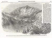 An etching of Nynee Tal (today Nainital) and accompanying story in the Illustrated London News, August 15, 1857, describing how the resort town in the Himalayas served as a refuge for British families escaping from the rebellion of 1857 in Delhi and Meerut.