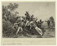Fugitive British officers and their families attacked by mutineers.