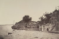 1858 picture of Sati Chaura Ghat on the banks of the Ganges River, where on 27 June 1857 many British men lost their lives and the surviving women and children were taken prisoner by the rebels.