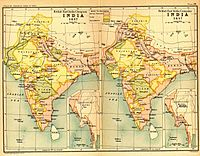 India in 1837 and 1857, showing East India Company-governed territories in pink