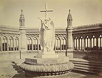 A memorial erected (circa 1860) by the British after the Mutiny at the Bibighar Well. After India's Independence the statue was moved to the All Souls Memorial Church, Cawnpore. Albumen silver print by Samuel Bourne, 1860