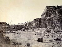 The Jantar Mantar observatory in Delhi in 1858, damaged in the fighting