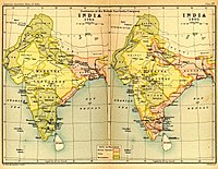 India in 1765 and 1805, showing East India Company-governed territories in pink
