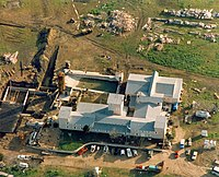 The Branch Davidian compound as photographed during the ensuing siege