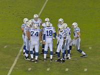 Manning and his teammates in a game against the Jacksonville Jaguars