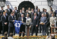 Manning and the 2006 Colts visit President George W. Bush at the White House.