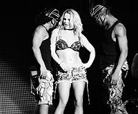 """Spears performing """"S&M"""" during the Femme Fatale Tour, 2011."""