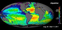 Salinity map taken from the Aquarius Spacecraft. The rainbow colours represent salinity levels: red = 40 ‰, purple = 30 ‰