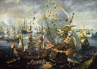 Naval warfare: The explosion of the Spanish flagship during the Battle of Gibraltar, 25 April 1607 by Cornelis Claesz van Wieringen, formerly attributed to Hendrik Cornelisz Vroom