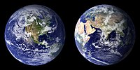 Composite images of the Earth created by NASA in 2001