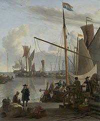 Dutch Golden Age painting: The Y at Amsterdam, seen from the Mosselsteiger (mussel pier) by Ludolf Bakhuizen, 1673