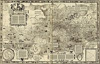 Gerardus Mercator's 1569 world map. The coastline of the old world is quite accurately depicted, unlike that of the Americas. Regions in high latitudes (Arctic, Antarctic) are greatly enlarged on this projection.