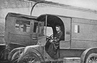 Curie in a mobile X-ray vehicle, c.1915