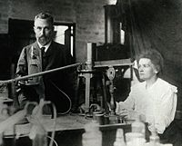 Pierre and Marie Curie in the laboratory, c.undefined 1904