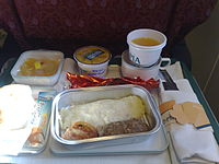 Breakfast in Executive Economy of Pakistan International Airlines.