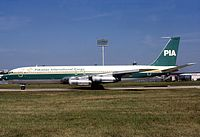 PIA Boeing 707C operating Cargo aircraft taxiing at Charles de Gaulle Airport, France on 14-Aug-1994.