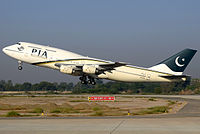 PIA Boeing 747-300 taking off from the Multan International Airport for a Hajj flight on 28 October 2010.