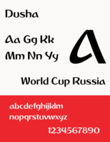 """The typeface """"Dusha"""" used for branding"""