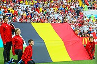 Volunteer flag bearers on the field prior to Belgium's (flag depicted) group stage match against Tunisia