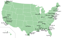 Map of naval bases in the United States