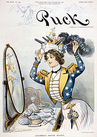 """Columbia, personification of the United States, wearing a warship bearing the words """"World Power"""" as her """"Easter bonnet"""" on the cover of Puck, 6 April 1901"""