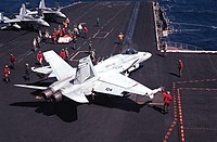A Marine F/A-18 from VMFA-451 preparing to launch from