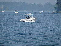 An OPP patrol boat in the Toronto Harbour, 2015