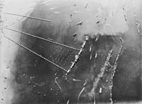 """Aerial view of Mulberry harbour """"B"""" (27 October 1944)"""