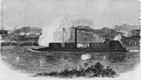 On December 7, 1864 the USS Neosho engaged the Confederate batteries at Bell's Bend. This sketch shows the ironclad moving upstream, firing on the batteries on the north bank.
