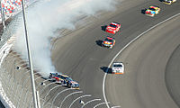 Brian Vickers spun around after he was hit by Casey Mears.