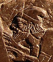 """Depiction of King Jehu, tenth king of the northern Kingdom of Israel, on the Black Obelisk of Shalmaneser III, 841–840 BCE. This is """"the only portrayal we have in ancient Near Eastern art of an Israelite or Judaean monarch""""."""
