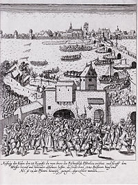 """Etching of the expulsion of the Jews from Frankfurt in 1614. The text says: """"1380 persons old and young were counted at the exit of the gate""""."""
