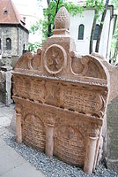 Tombstone of the Maharal in the Old Jewish Cemetery, Prague. The tombstones are inscribed in Hebrew.