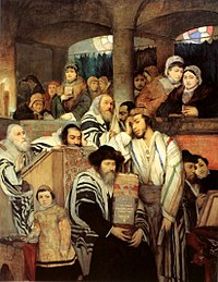 Ashkenazi Jews of late-19th-century Eastern Europe portrayed in Jews Praying in the Synagogue on Yom Kippur (1878), by Maurycy Gottlieb
