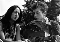 """Joan Baez and Bob Dylan were primary figures in the early-1960s American folk music revival. Dylan subsequently ventured into folk rock after being inspired by the British Invasion, particularly The Animals' hit recording of the folk song """"The House of the Rising Sun""""."""