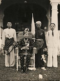 Ahmad Tajuddin, the 27th Sultan of Brunei, with members of his court in April 1941, eight months before the Japanese invaded Brunei