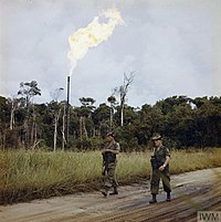 British soldiers in the British protectorate of Brunei on guard in the Seria oilfield, January 1963