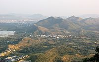 Aerial view Udaipur and Aravali hills.