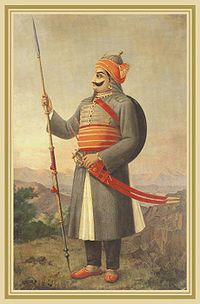 Maharana Pratap Singh, sixteenth-century Rajput ruler of Mewar, known for his defense of his realm against Mughal invasion.