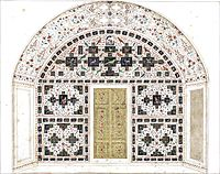 The wall of the balcony with inlay work (painting by Ghulam Ali Khan, before 1854)