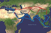 Silk Road and Spice trade, ancient trade routes that linked India with the Old World; carried goods and ideas between the ancient civilisations of the Old World and India. The land routes are red, and the water routes are blue.