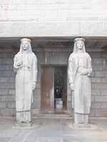 Caryatids at the entrance show Montenegrins