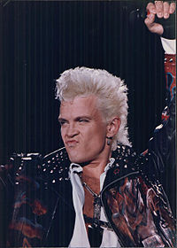 Idol performing during the Cradle of Love Tour, 1990
