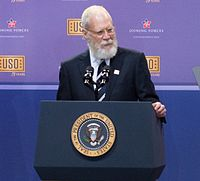 Letterman at the 75th anniversary of the USO and the 5th anniversary of Joining Forces in 2016